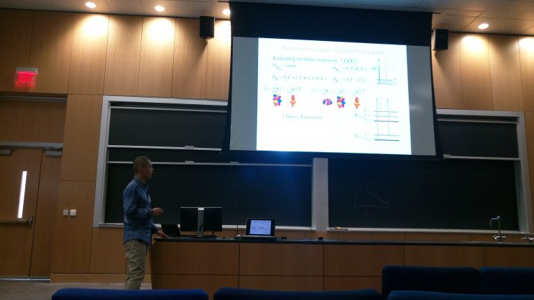 Mai presenting his results on the crystal field transitions in CeB6.